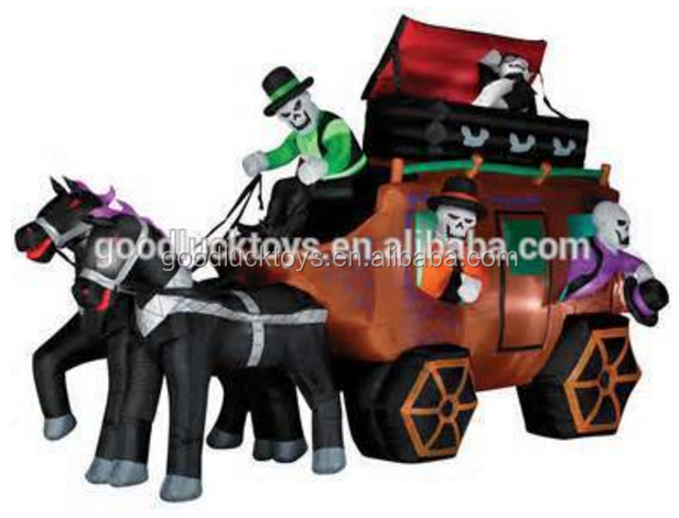 halloween inflatable horse pumpkin carriage advertising balloon decorations lighting pvc comercial promotional cheap LED