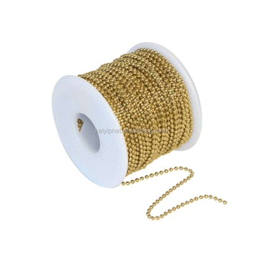 Gold Plated Metal Ball Chain On Spool 1.0~12mm brass ball chain