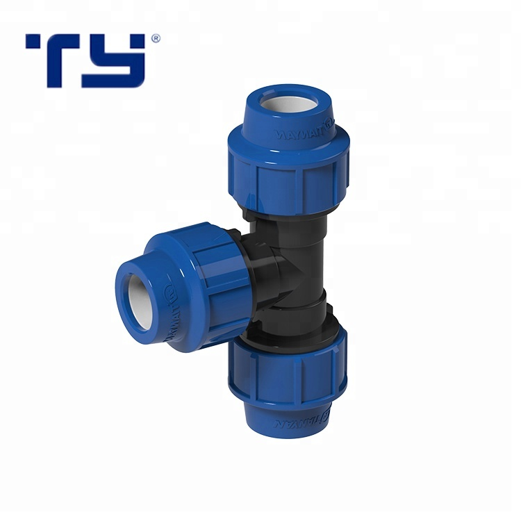 PP Compression <strong>Fittings</strong> Plastic Reducing Tee For Pe Pipe