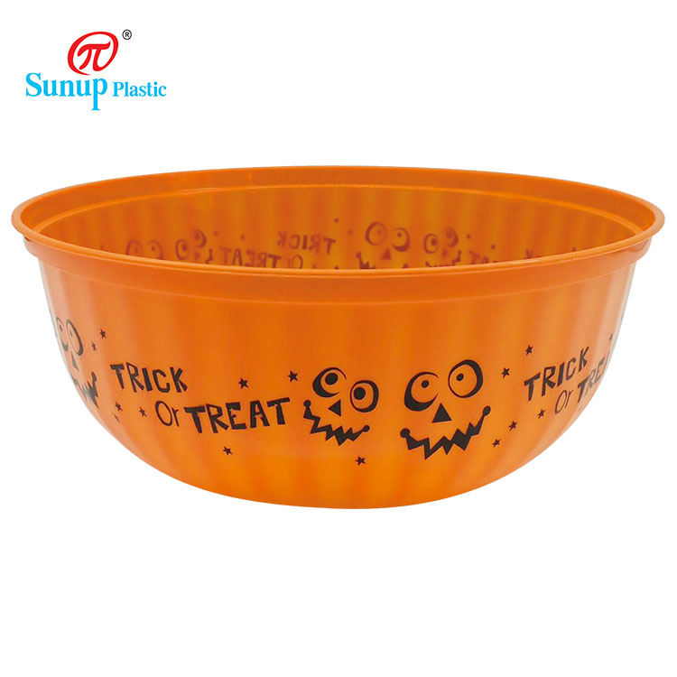 Easy to Clean Round Plastic Pudding Bowl Halloween Plastic Bowl