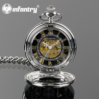 Pacifistor Silver Luxury Vogue Mechanical Skeleton Chain Pocket Watch