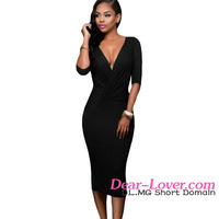 Ladies Casual Dresses 2016 Latest Design Office Wear Black Bodycon Midi Dress