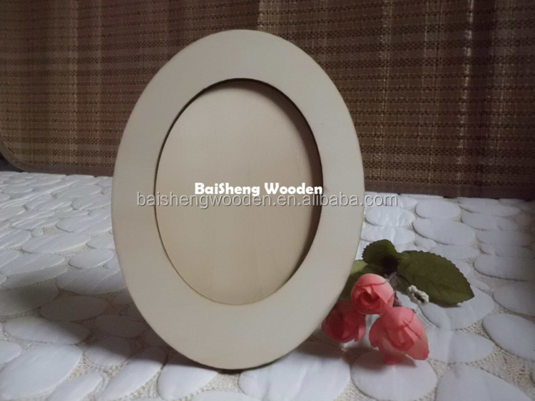 oval shaped mini plywood picture frame wooden photo frames wholesale