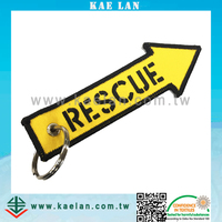 Custom design rescue sign embroidery key chain