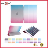 Hot PU and PC 2 in 1for iPad 5 rainbow spray color 3 folded smart cover case for iPad air