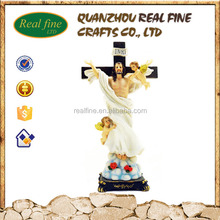 Resin Inri Jesus Cross Figure with Two Angels