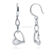 Wonderful design Sterling silver hanging heart earrings,925 silver earrings with crystal