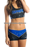 New Custom dye sublimated cheerleader sports bra and spandex shorts