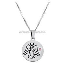 Stainless Steel Necklace Birthstone Angel Disc Pendant