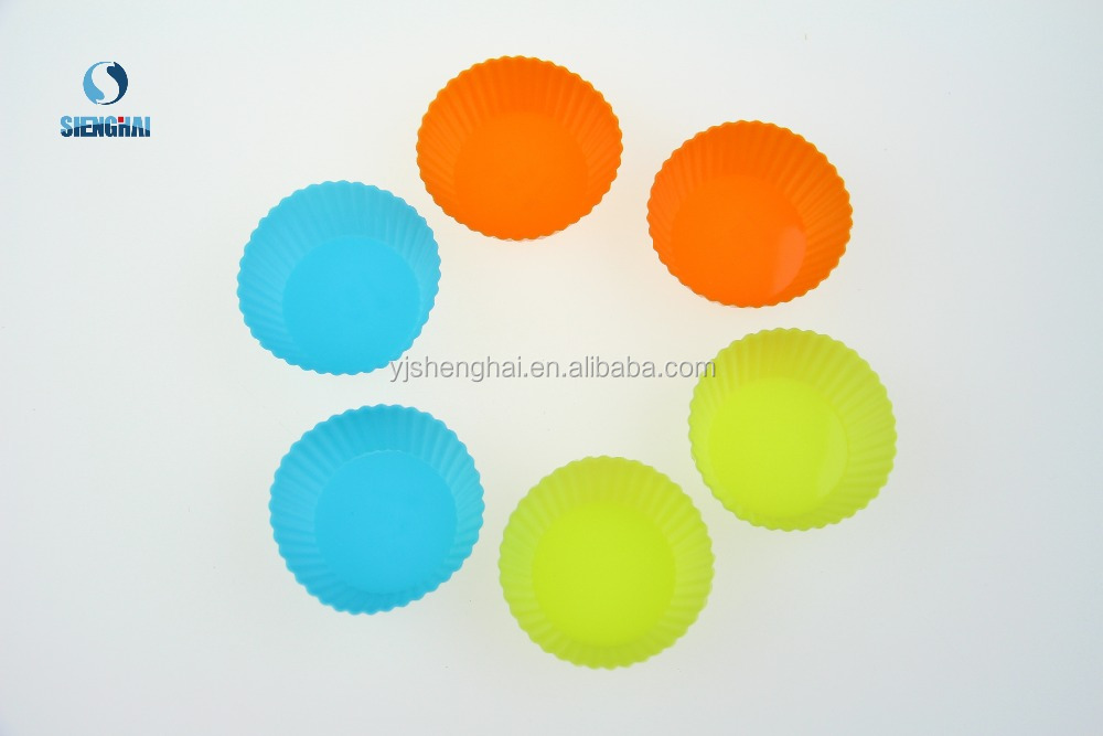 6 Pcs Silicone cake kitchen tool coloful circle shape cake mould
