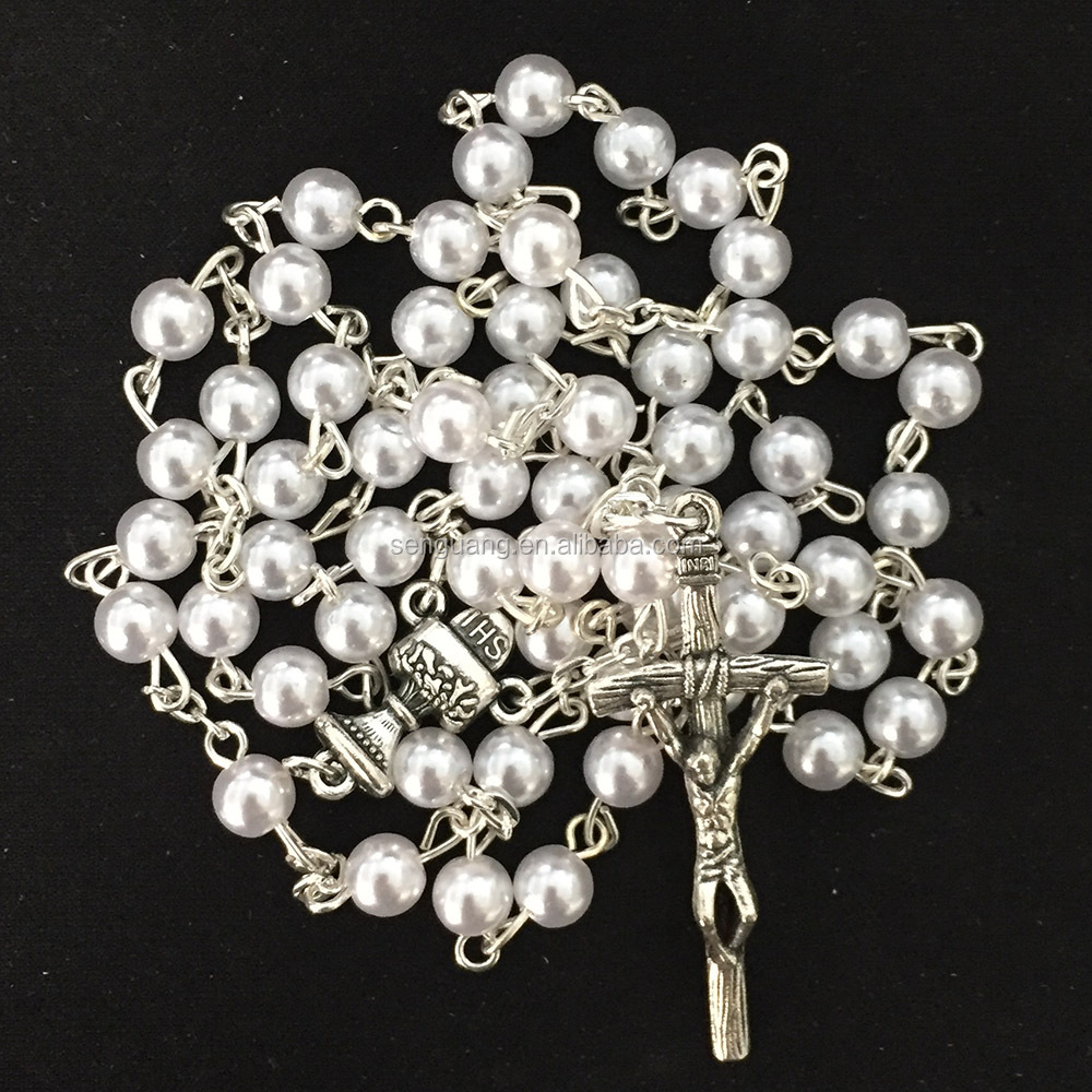 Catholic plastic beaded rosary,cheap beaded rosary,cheap fake pearl necklaces