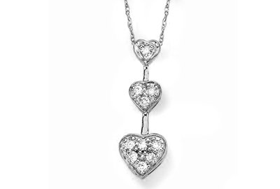 Round White Gold 3 Heart Shape Natural Diamond Pendant