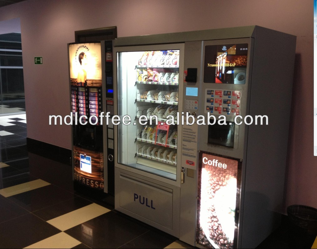 levending automatic snack and cold drink and coffee combo vending machine