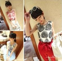 Wholesale ladies summer leaves print design blouse fashion chiffon sleeveless vest