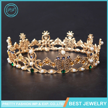 HG436 Continental Baroque Queen Diamond Pearls Crown Bride Crown Leaf Butterfly Crown Tiara