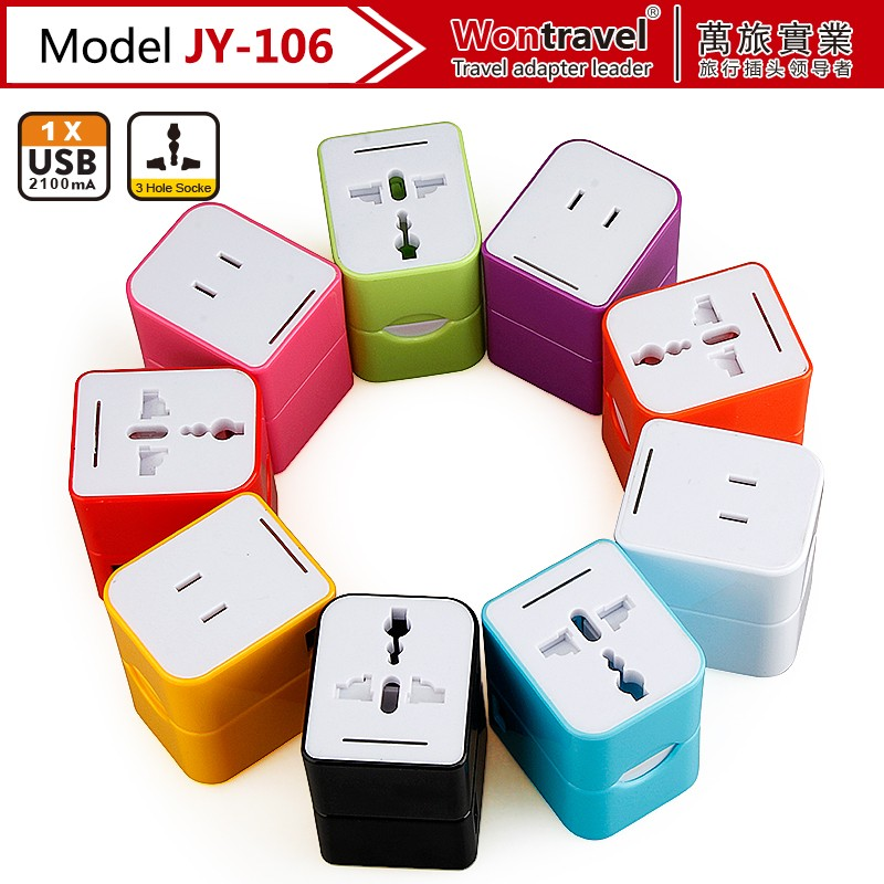 Colorful usb adapter plug universal Travel Adaptor with USB charger