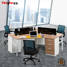 wooden office furniture l-shape modular workstation for 3 person