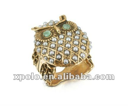 Charm Imitation Pearl Embed Owl Shape Gold Plated Ring Finger