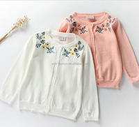 baby girls embroidered flower cotton white pink cardigan