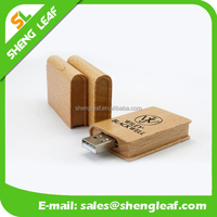 personalized custom book shape wooden usb flash drives
