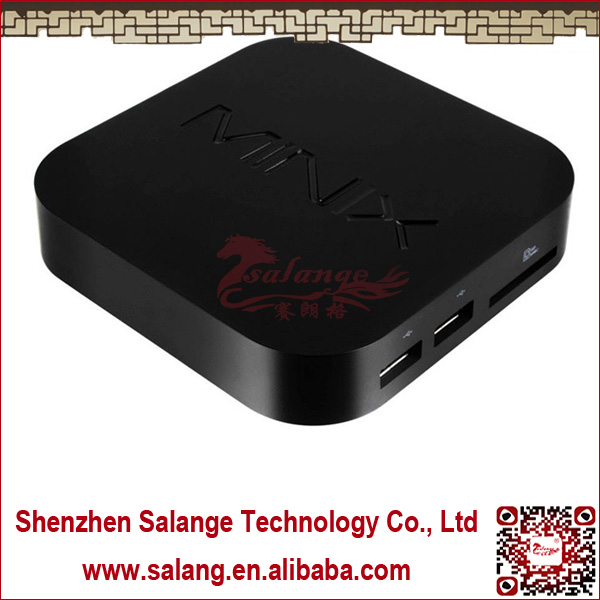 New 2014 made in China Qual Core DDR3 2G Nand Flash 8G Quad-Core Mali 400 NEO X7 mini google android tv box camera by salange