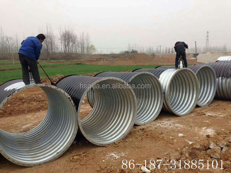 flanged nestable pipe corrugated steel tube with asphalt