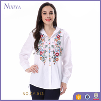 White blouse womens,shoulder embroidered shirt , fashion patches women blouse