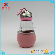 sport water bottle/lamp bulb shaped glass water bottle with colorful sleeve 420ml/14oz