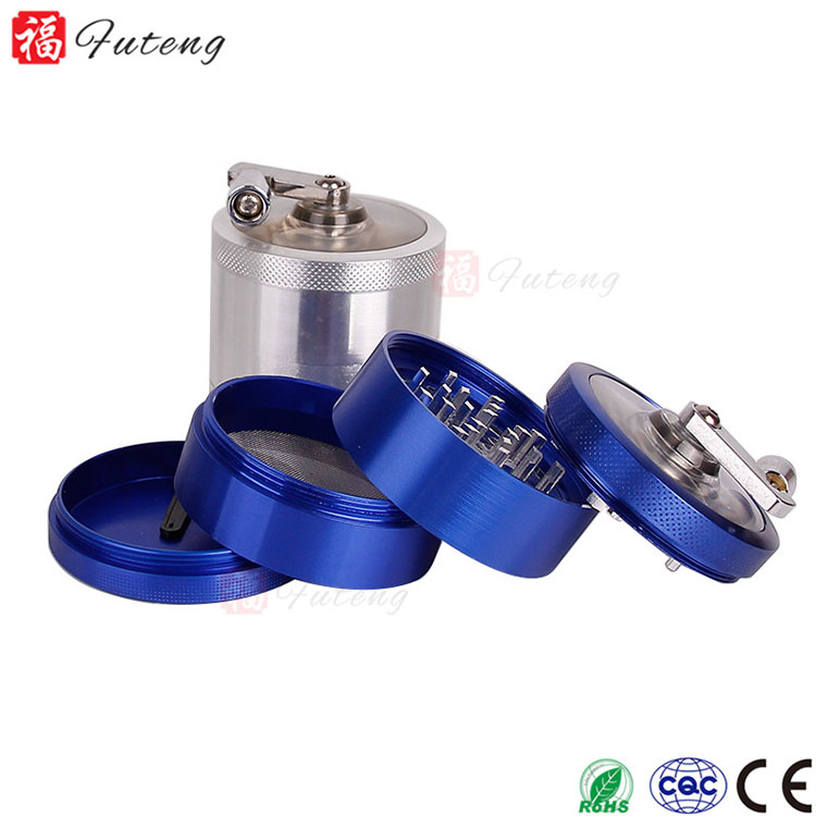 Futeng 63mm 4layers Aluminum Color Custom Herb Grinder Tobacco Grinders With Handle