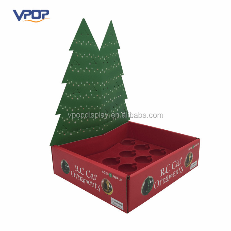 Corrugated Christmas Tree Design Countertop Display for Ornament