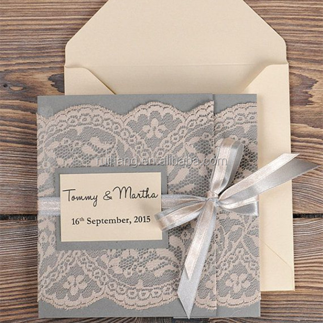 Hot sale elegant & personalized gray lace wedding invitations with white ribbons & label papers