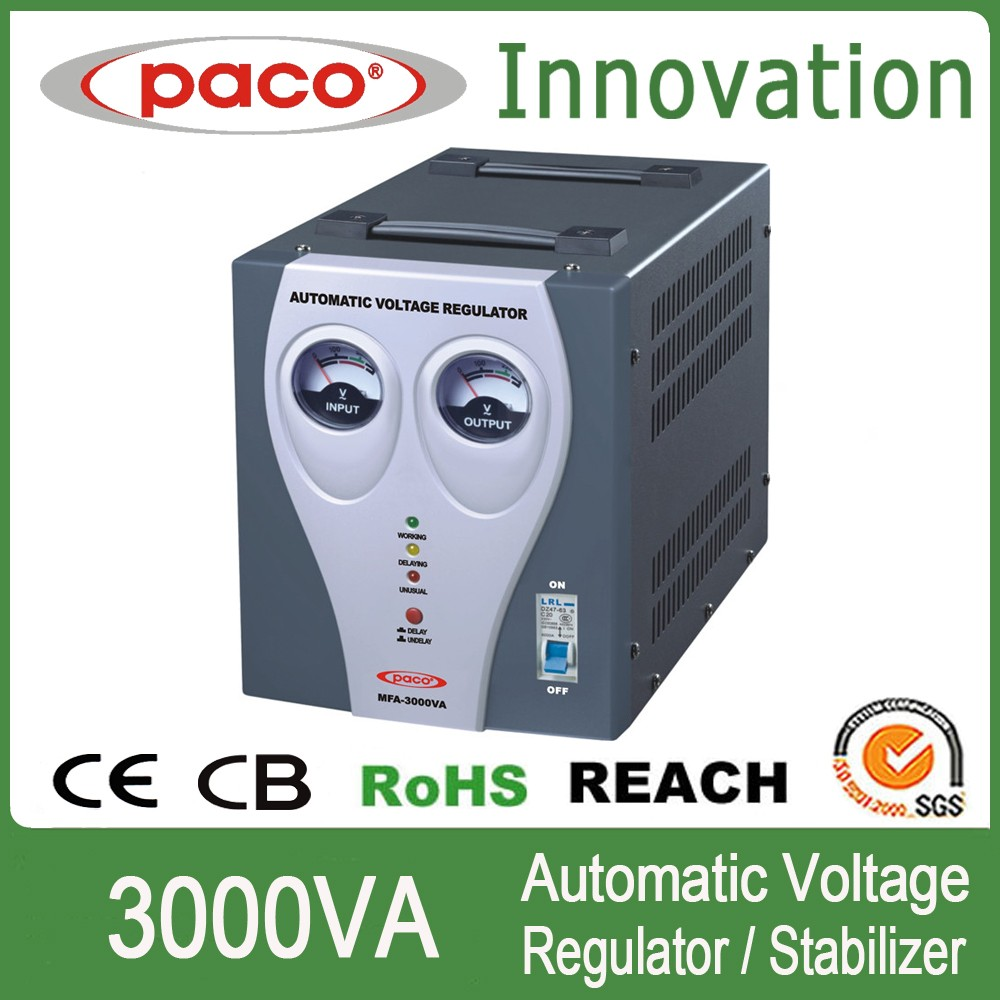 Circuit Protected 3000watt automatic voltage regulator/stabilizator for 110v/220v ac to ac regulation/stabilization