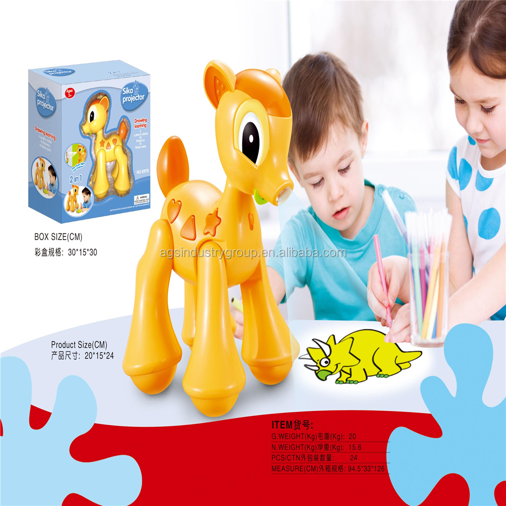 2 in 1 Cartoon projector painting toy for children