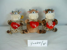 "8"" promotional customized 3-colour plush valentine hippo wild animal toy with red embroidered heart pillow&silk bowtie"