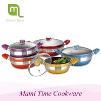 Mami time 4 pcs Aluminium ceramic low sauce pot /deep frying pan with lid