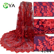 red embroidery 3D floral lace fabric 3d beaded lace fabric bridal material