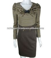Long Sleeve Fitted stripes V neck casual dress for womens 2012 and 2013