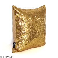 "latest design gold embroidery 17x17"" sequin cushion Cover"