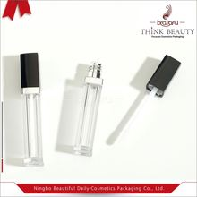 Custom black, clear, shiny silver 5.5ml square shape empty lip gloss bottle/container/tube