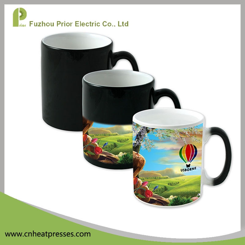 F-MS Prior High Quality Black Porcelain Magic Sublimation Whole Color Changing Mug