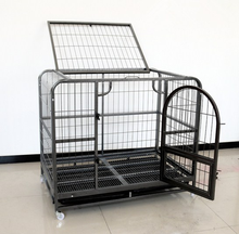black or silver color folding heavy duty square tube dog cage with wheels