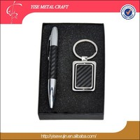 cooperate classical gift set pen and key chain set PU leather name card holder business gift set