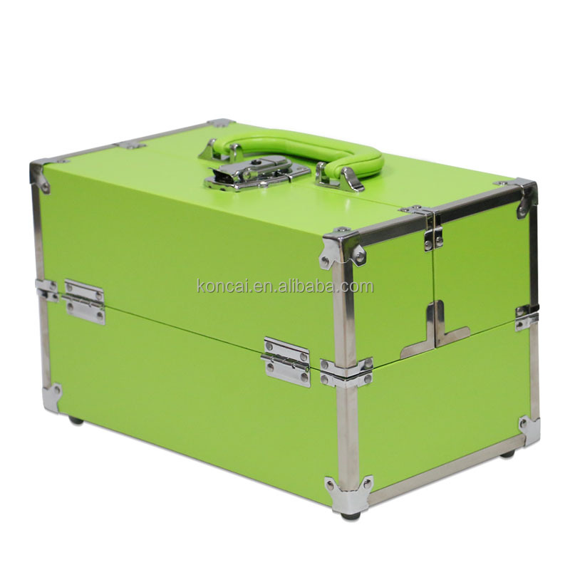 Portable PVC Aluminum Makeup Case Travel Vanity Suitcase Cosmetic Organizer Box KC-M29