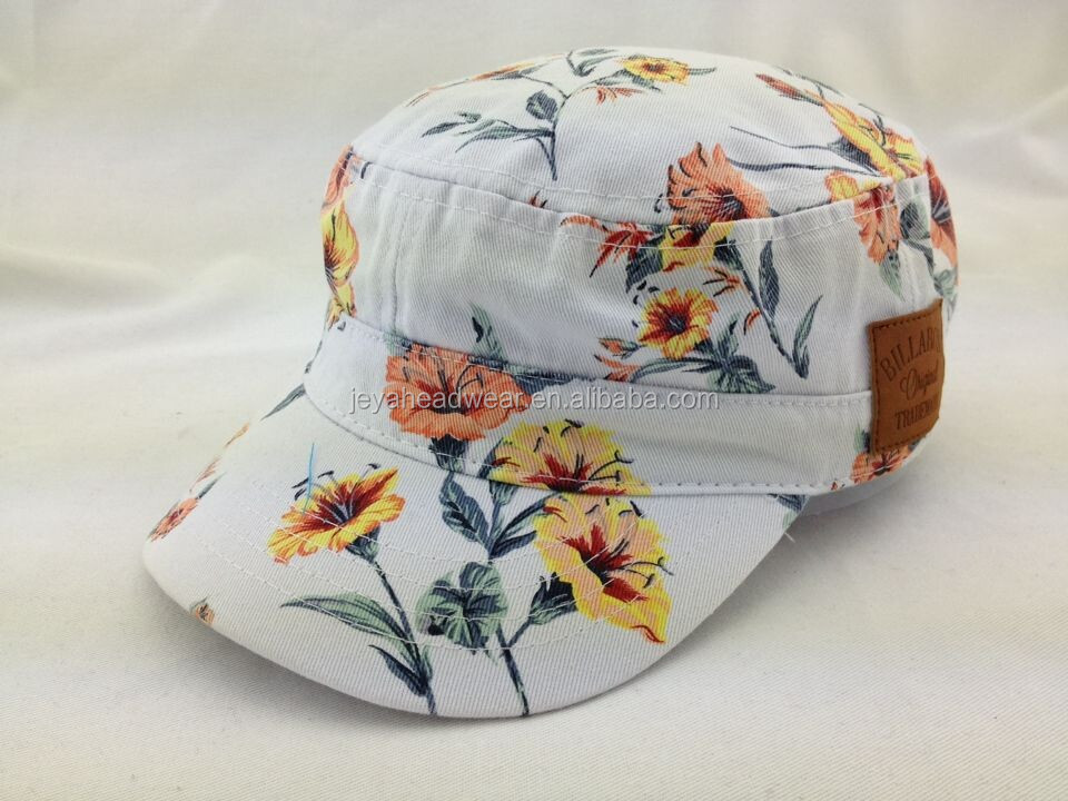 Full Printed flower pattren Cotton Military Cap Hat with Leather Patch and Embossing Logo