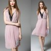 Great Inspired Dress With Stunning crystal color button Double Layered fashion chiffon short dress