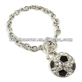 Sport Jewelry Crystal Rhinestone Soccer Charm Bracelet Fashion Ball Jewelry