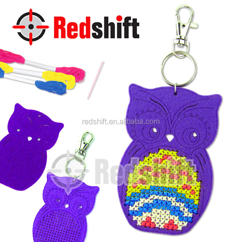 Felt Cross Stitch Owl Keychain Art and craft kit diy educational toy
