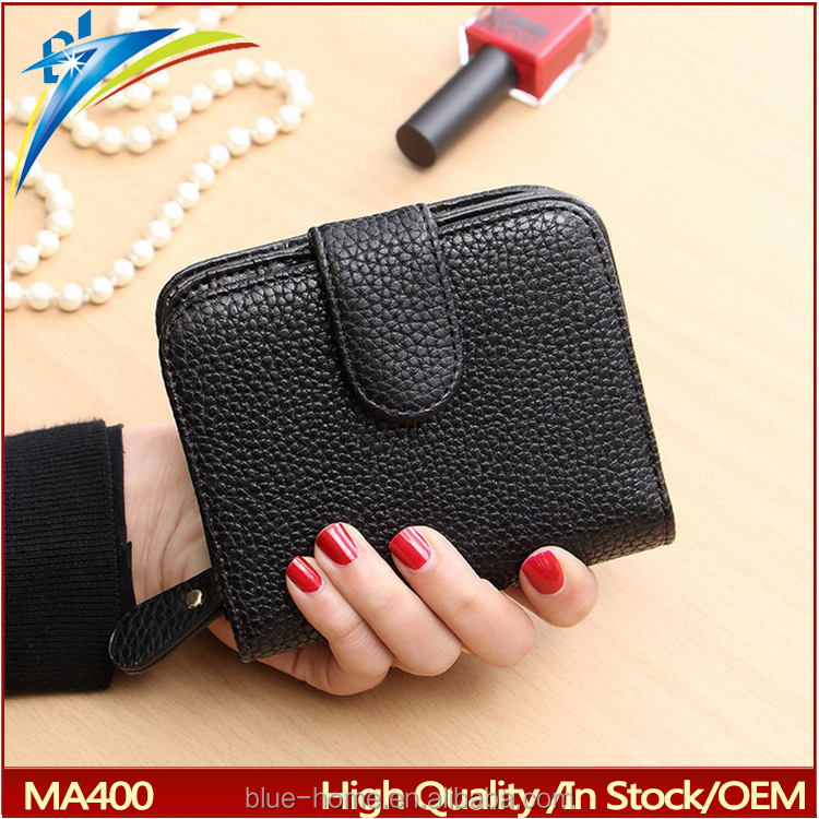 Cheap Fashion Women Black Leather Wallet Coin Purse Money Bag Small Wallet and Purse Mini Zipper Hasp Short Lady Purse