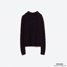 Women Cable knit sweater with high neck and front opening
