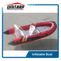 Large inflatable boat with outboard motor